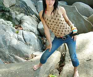 Hot ladyboy sweety stripping outside